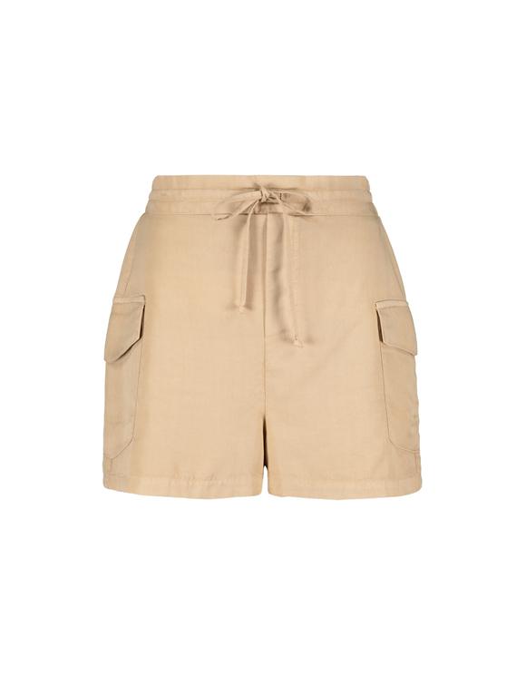 Beige Cargo Shorts with Drawstring