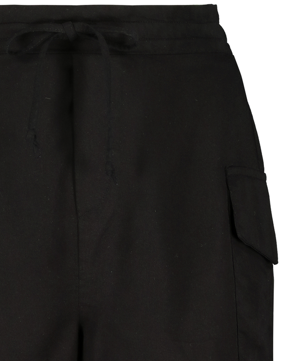 Black Cargo Shorts with Drawstring