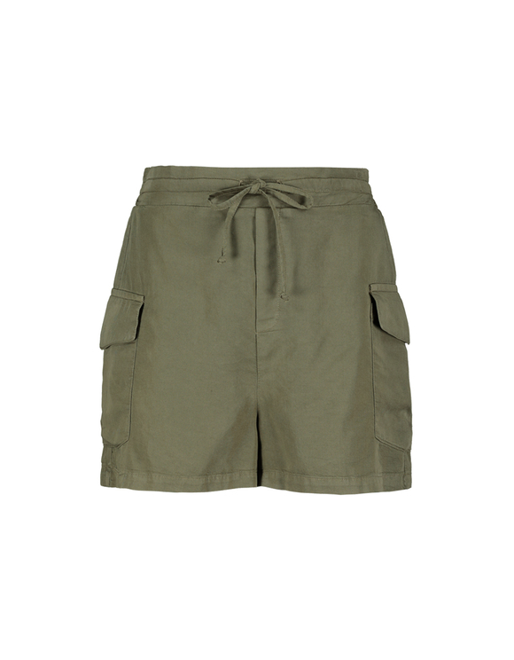 Khaki Cargo Shorts with Drawstring