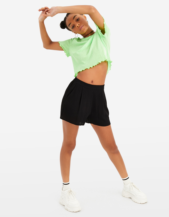 Pleat Front High Waisted Shorts