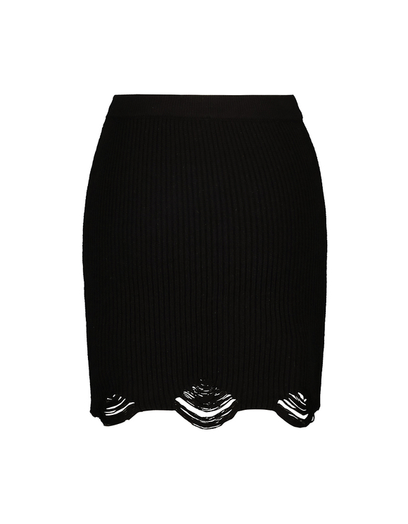 Black Destroyed Knitted Skirt