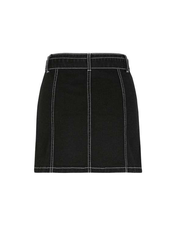 Black Skirt with White Stitching