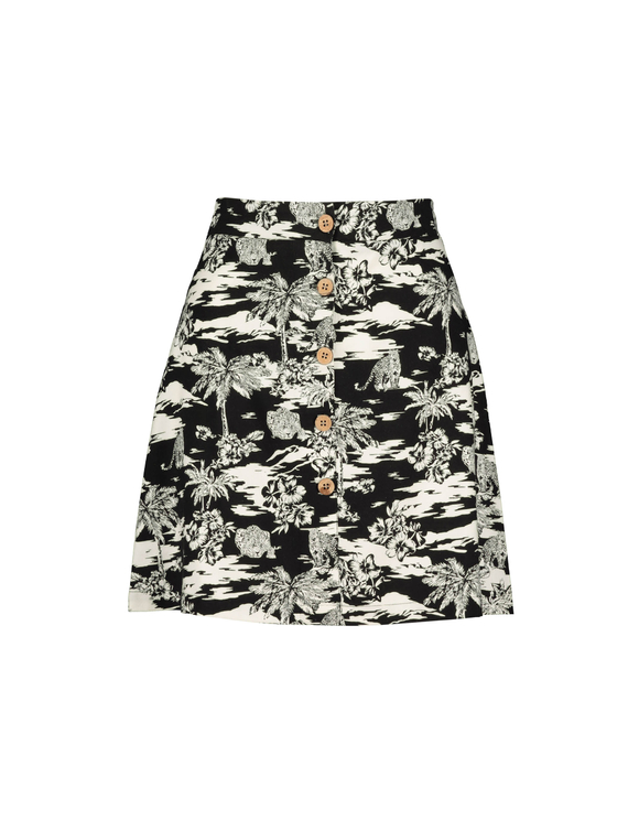 Black Tropical Print Skirt