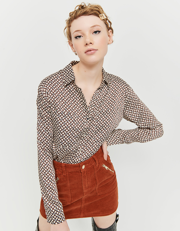 Cognac High Waist Corduroy Skirt