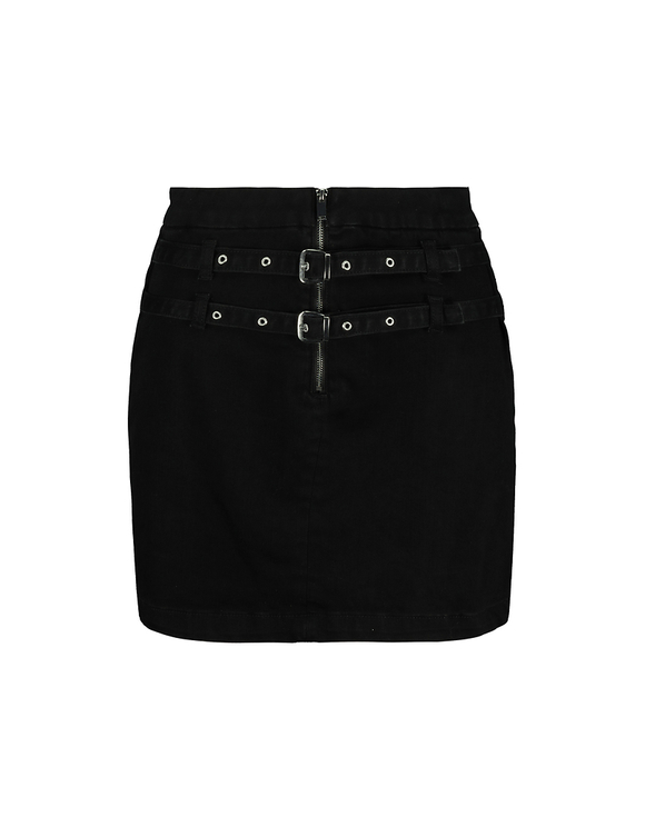Black High Waist Skirt with Buckles