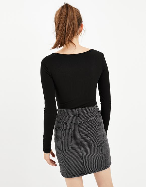 Black & White Pinstriped Skirt