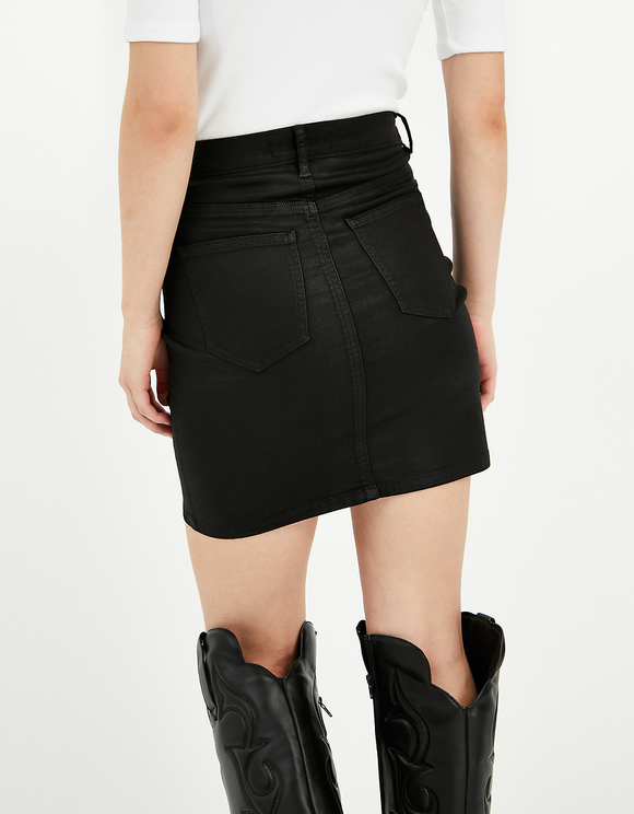 Black Coated Mini Skirt