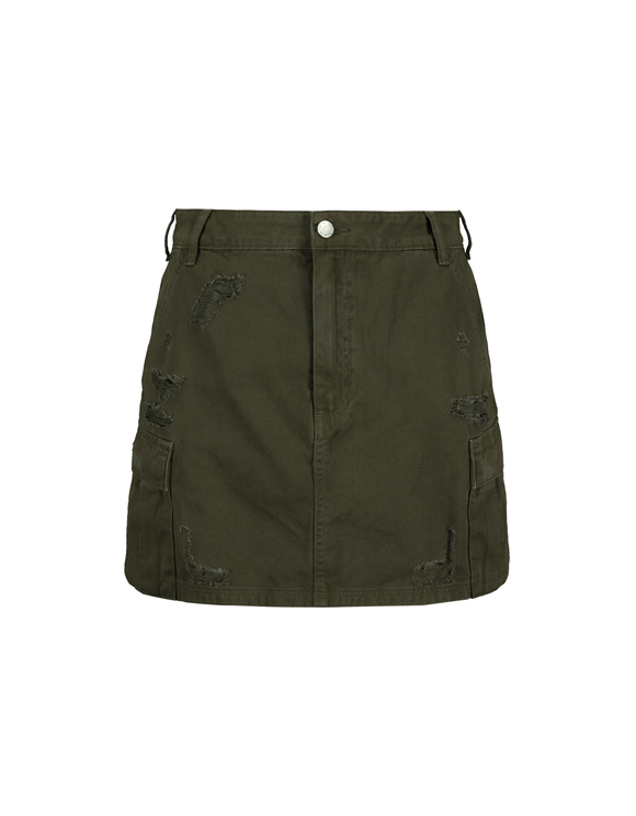 Khaki Destroyed Utility Skirt