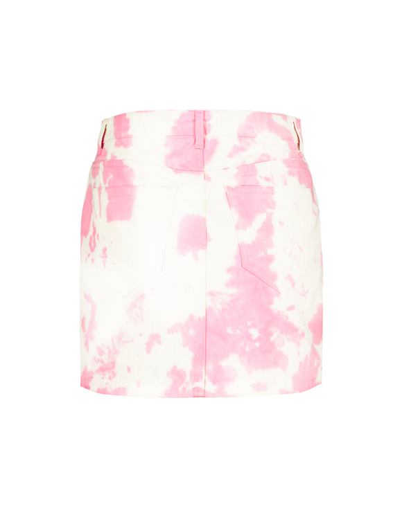 Pink Tie Dye Denim Skirt