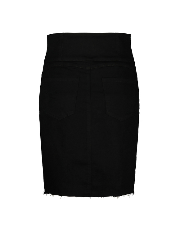 Black High Waist Zipped Skirt