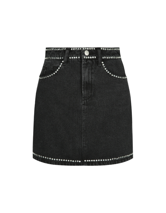 Black High Waist Denim Skirt