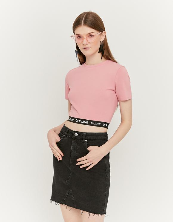 Denim Skirt with Raw Hem