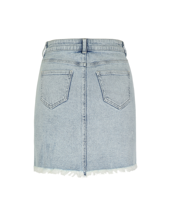 Denim Skirt with Cut Out