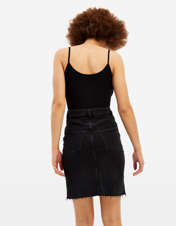 Black Denim Skirt with Cut Out