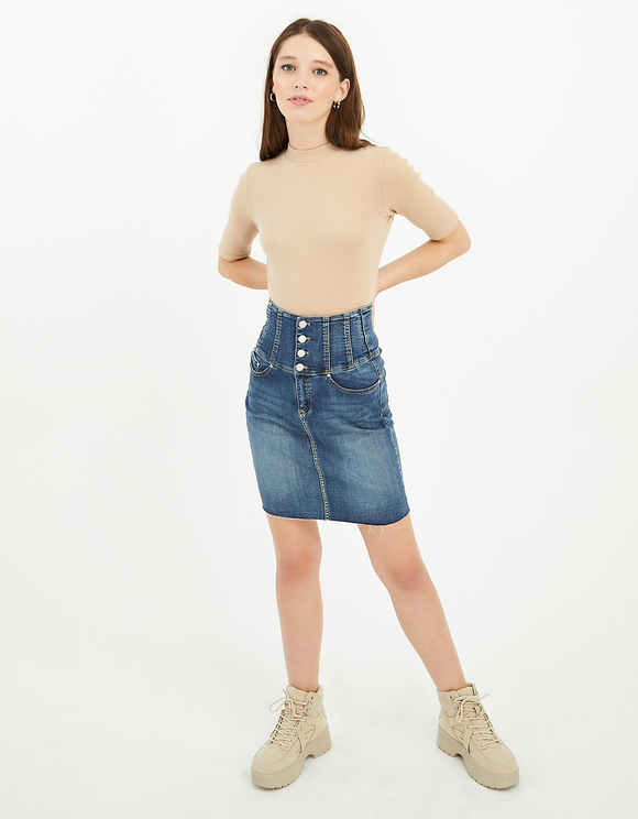High Waist Denim Rock mit Knöpfnen
