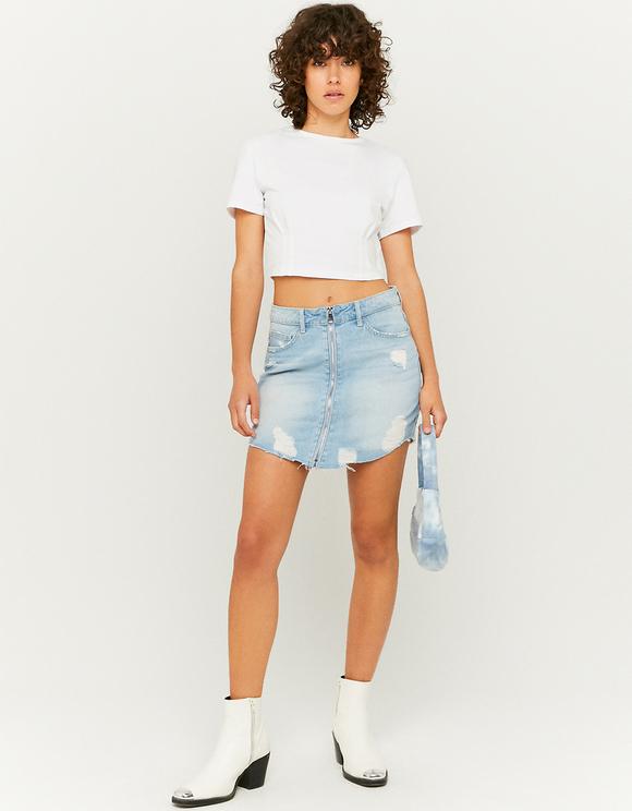 Denim Zipped Skirt