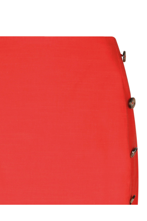 Red Side Button Skirt
