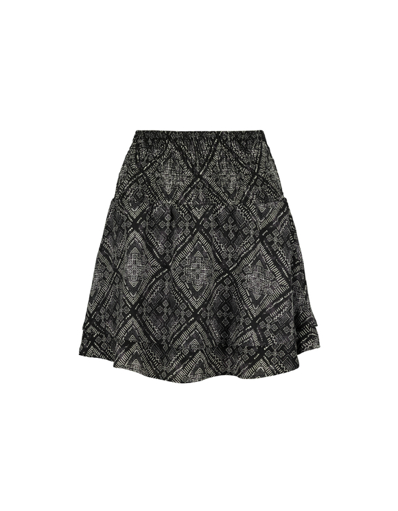 Black Baroque Print Skirt