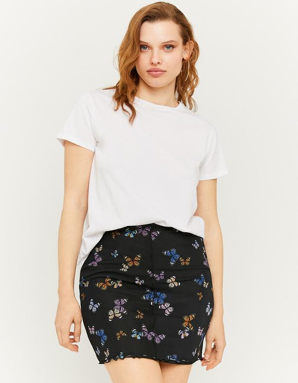 Black Mesh Overlay Mini skirt