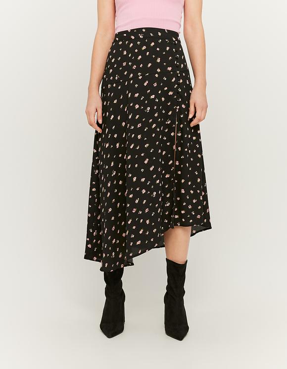 Asymmetric Floral Midi Skirt