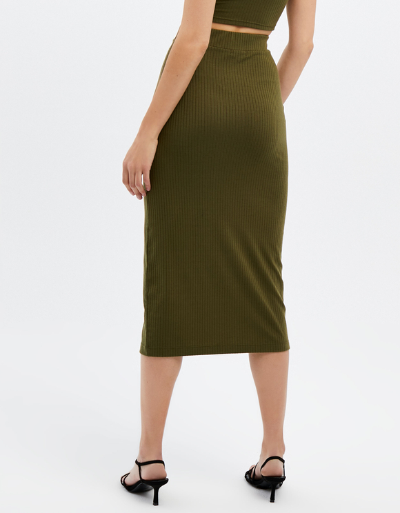 Khaki Skirt with Button