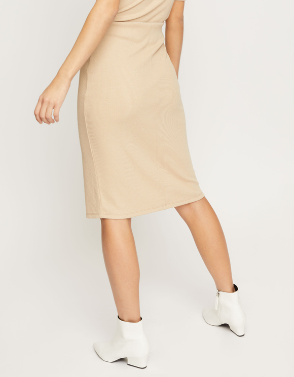 Beige Ribbed Skirt