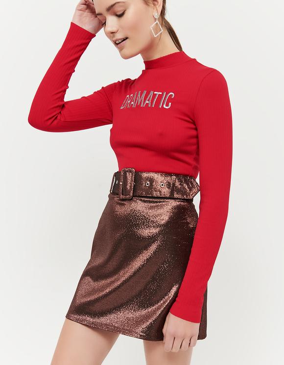 Spódnica z paskiem z kolorze różowego złota