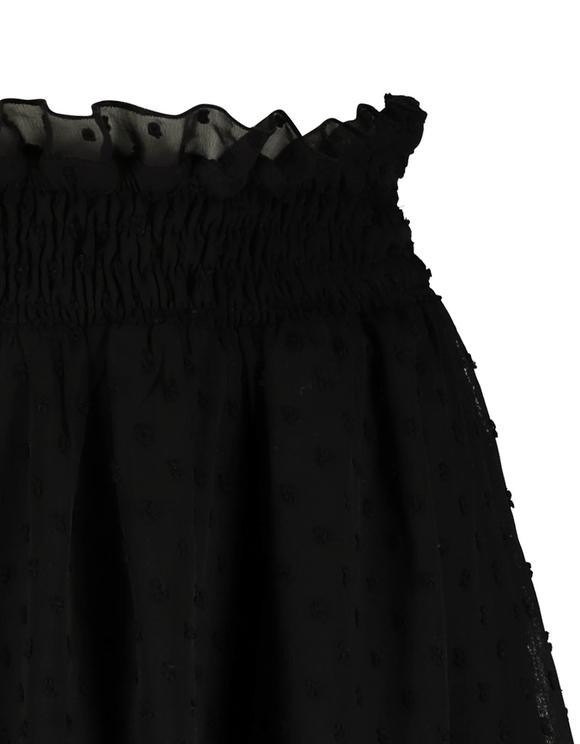 Schwarzer Rock mit gepunktetem Maschenmaterial