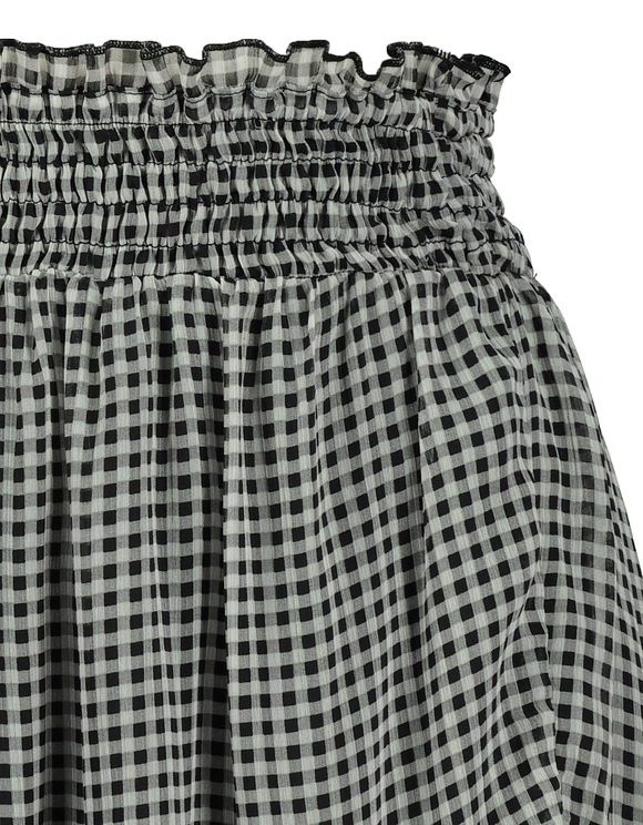 Ruffle Trim Gingham Print Mesh Mini Skirt