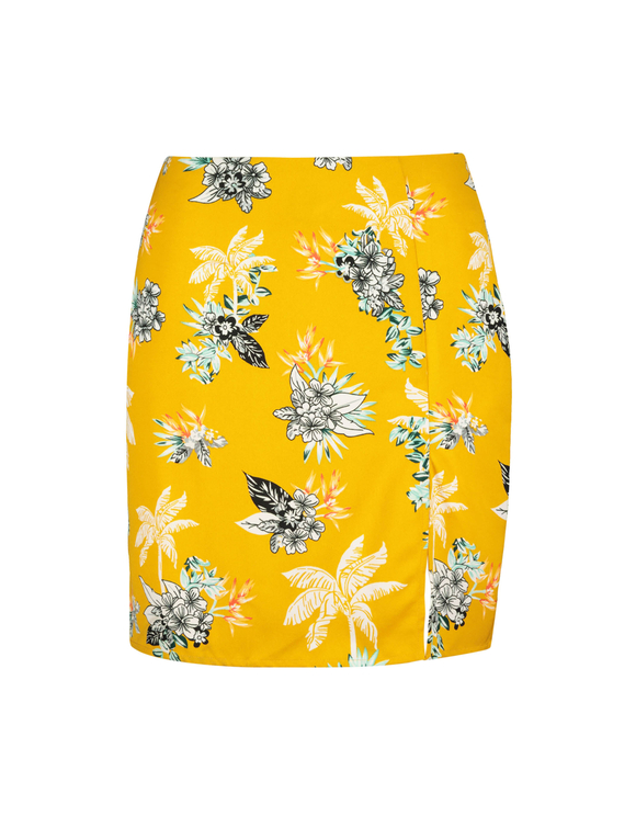 Mini Jupe Jaune Imprimé Tropical