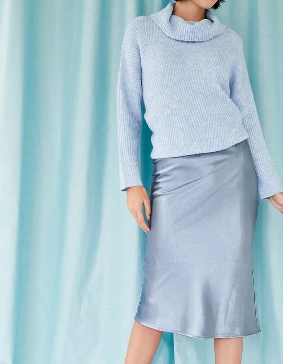 Niebieska satynowa spódnica Midi