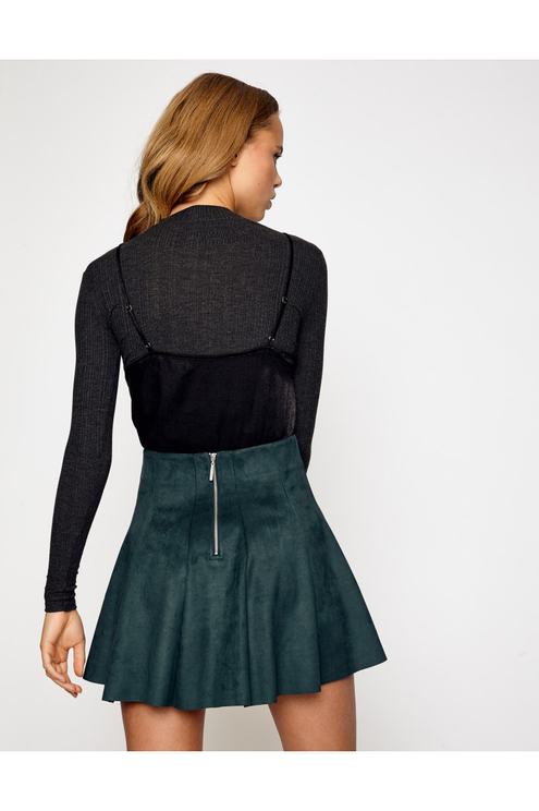 Dark Green Skater Skirt