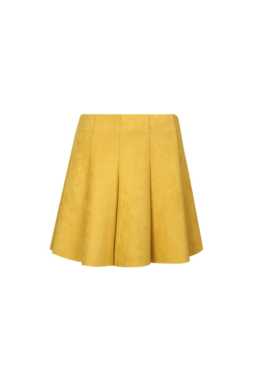 Yellow Suedette Skater Skirt