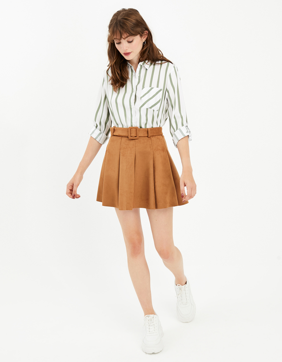 Cognac Suedette Skirt