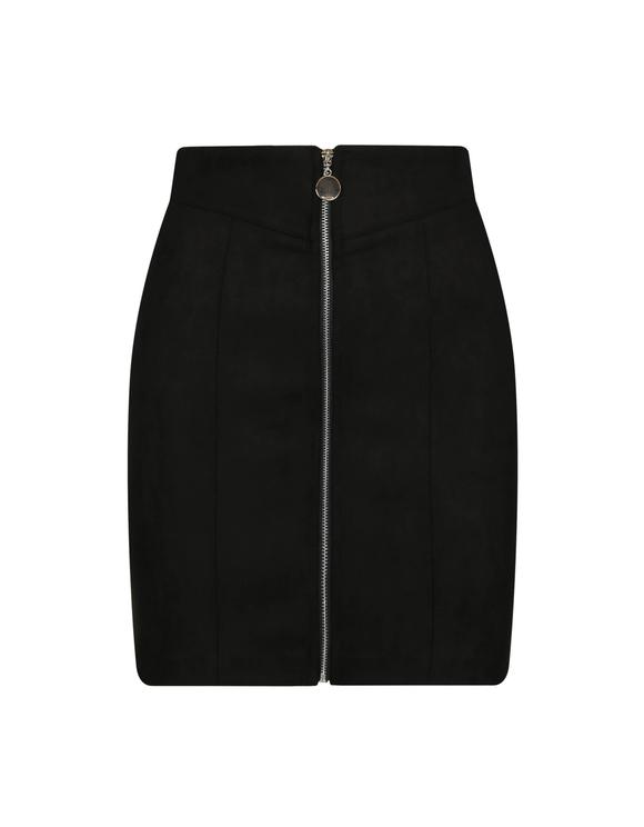 Black Suedette Zip Skirt