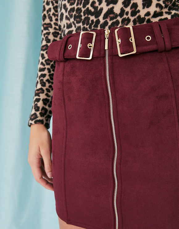 Burgundy Suedette Skirt