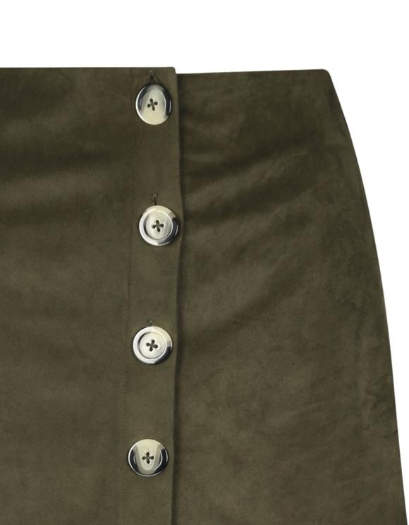 Khaki Suedette Skirt