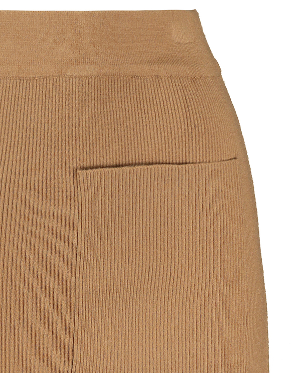 Beige Ribbed Knit Skirt