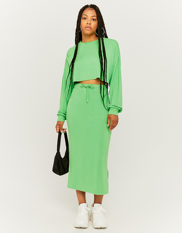 Green Long Molleton Skirt