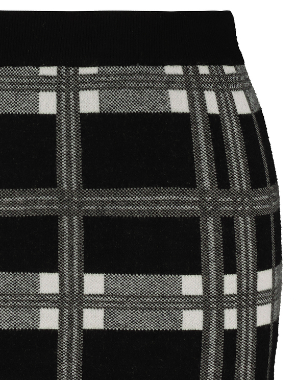 Check Bodycon Knitted Skirt