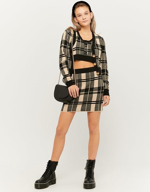Beige Check Skirt