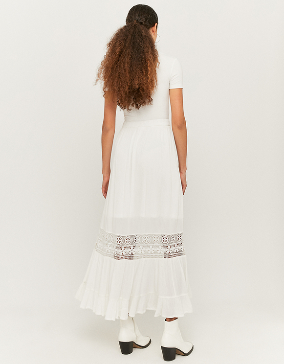 Crochet Lace Insert Maxi Skirt