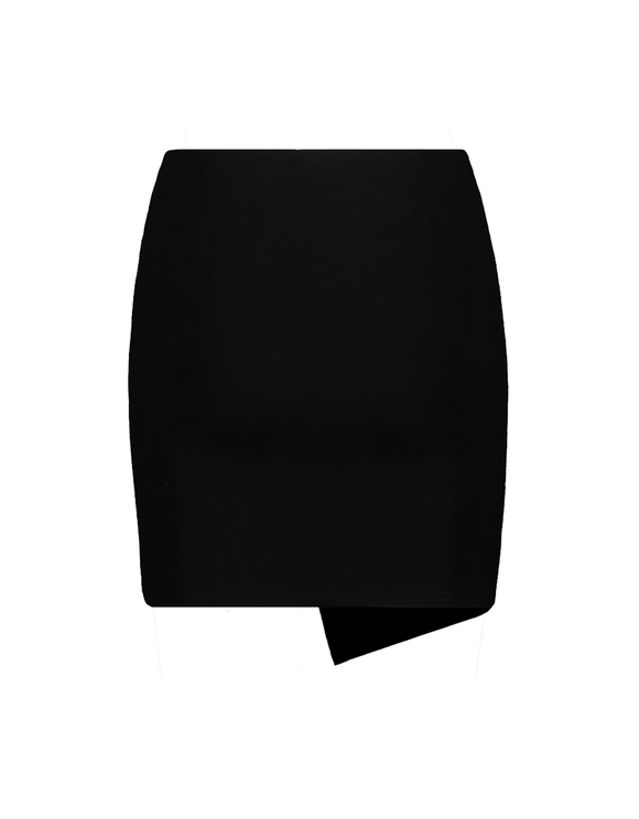Black Asymmetric Faux Leather Skirt