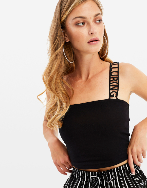 Slogan Strap Crop Top
