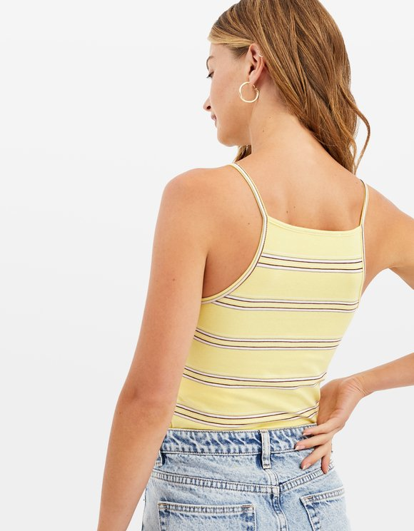 Crop Top Jaune Rayé