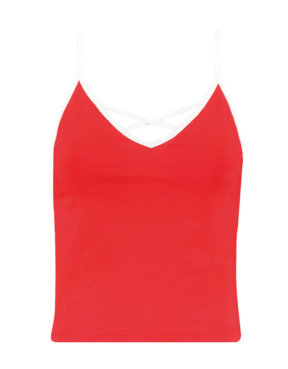 Rotes Top mit Criss Cross