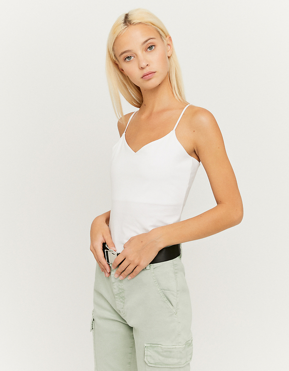 White Basic Sleeveless Top