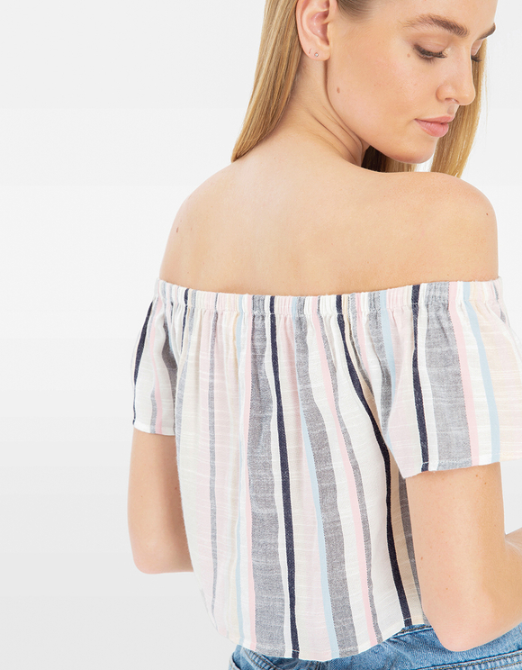 Stripes Off Shoulder Blouse