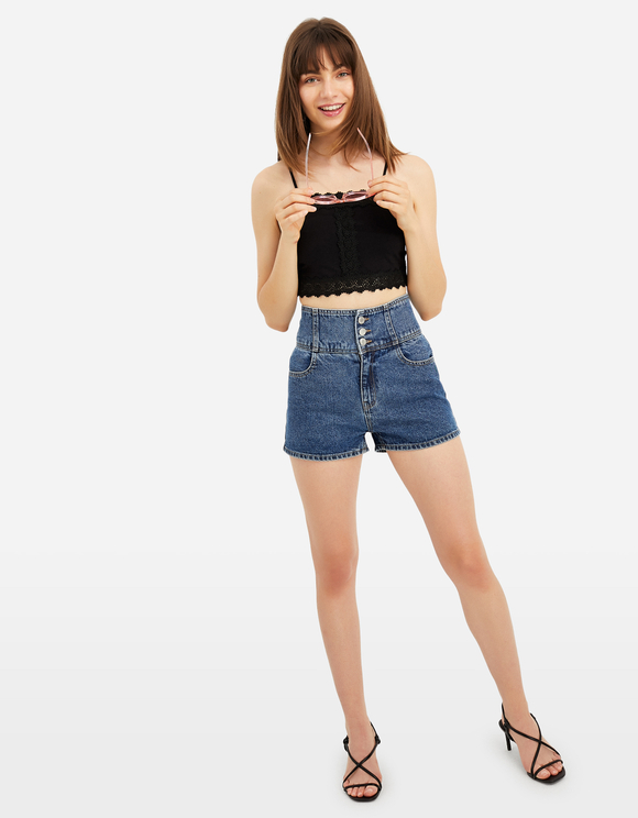 Black English Embroidery Crop Top