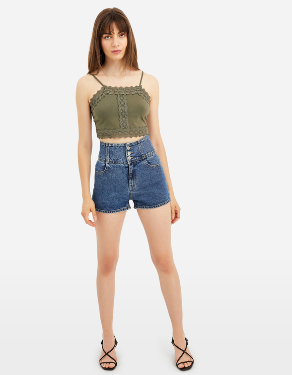 Khaki Lace Crop Top